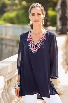Stay on trend this summer with Together's fabulous floaty Embellished Kaftan. With an elegant embroidered and beaded neckline and fluted 3/4 sleeves it is effortlessly stylish. Body lined. Together Embellished Kaftan Online | Shop EziBuy
