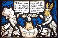 All Saints Church in Daresbury, England features Alice in Wonderland themed stained glass panels.