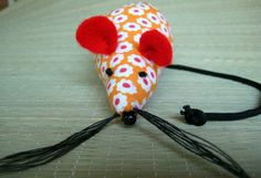 Mouse Pincushion pins and needles orange red by LeftFieldFolk