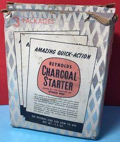 1954 REYNOLDS Charcoal Starter Grill Campfire Fireplace Fire Starter Packs RETRO #eBayDanna