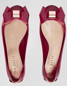 Image 3 - Ted Baker - Faiyte - Ballerines plates à nœud oversize - Rouge
