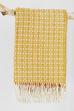 Sectional Sofa Cob weave Welsh blanket Mustard Yellow ThrowsWool