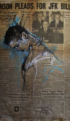 Guy DENNING the start 2014 cm craie et fusain sur papier journal Portrait Art, Portraits, Art Sketches, Art Drawings, A Level Art Sketchbook, Surface Art, Newspaper Art, Charcoal Art, Cardboard Art