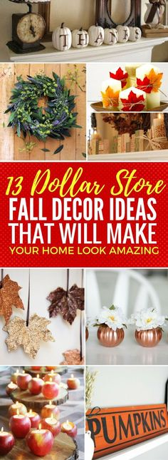fall home decor projects that look so AMAZING and super cheap to make! Click to find out how to make these incredible dollar store fall decor ideas that will have everyone loving it!