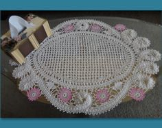 Handmade Bruges Lace crochet rectangular cream tablecloth with