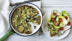 Garlic mushroom frittata         Garlic and mushrooms bring great flavour to this super-low-calorie, easy-to-make frittata. Serve with salad for a simple and delicious lunch. As part of an Intermittent diet plan, 1 serving provides 3 of your 6 daily vegetable portions.This meal provides 243 kcal per portion.