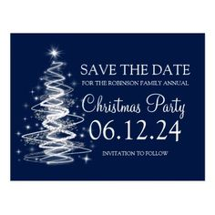 #savethedate #postcards - #Christmas Save The Date Sparkling Tree Navy Blue Postcard