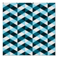 Double chevron pattern, dark and light blue. posters.