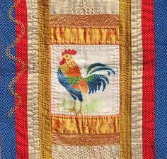 Vintage stencil + hand stitch . Hand Stitching, Stencils, Ann, Textiles, Bird, Quilts, Blanket, Animal, Rugs