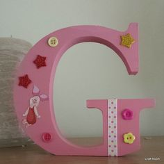 Pink 'G' for the little princess Freestanding Wooden Letters, Little Princess, Symbols, Pink, Handmade, Home Decor, Hand Made, Decoration Home, Room Decor