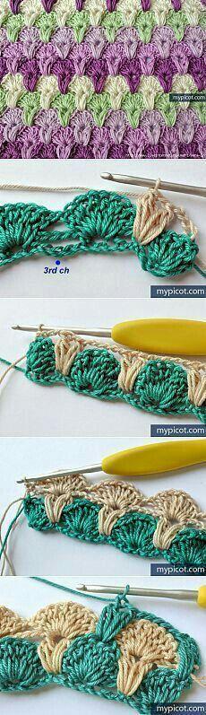 Watch This Video Beauteous Finished Make Crochet Look Like Knitting (the Waistcoat Stitch) Ideas. Amazing Make Crochet Look Like Knitting (the Waistcoat Stitch) Ideas. Crochet Afghans, Crochet Motifs, Crochet Stitches Patterns, Tunisian Crochet, Crochet Squares, Knitting Patterns, Afghan Patterns, Crochet Shell Stitch, Love Crochet