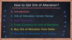 Orb of alteration vendor recipe Picking up orb of alteration that dropped Trade poe currency for orb of alteration Buy orb of alteration from Seller Buy orb of alteration from Vendor Vendor Recipe, Farming Guide, Divination Cards, Recipes, Ripped Recipes, Cooking Recipes, Medical Prescription