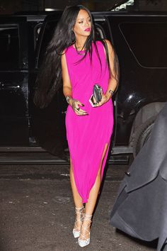 """How Rihanna Does """"Neutrals"""" #refinery29 www.refinery29.co... Rihanna shines bright like a (pink) diamond in statement add-ons, including Christian Louboutin heels, Lynn Ban jewels, and a Balmain bag."""