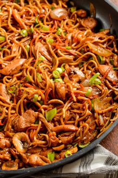 Delicious Ginger Chicken with Mushrooms and Noodles - ready from wok to bowl in less than 30 mins I love the flavors in this dish, fragrant ginger, with the saltiness from the soy sauce and