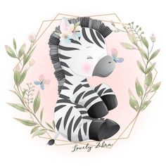 Zebra Illustration, Floral Illustrations, Watercolor Illustration, Baby Animal Drawings, Cute Drawings, Zebra Cartoon, Doodles Bonitos, Watercolor Flower Background, Flower Watercolor