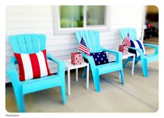{4th of July Decor} Patriotic Front Porch. Pillows from Pottery Barn.