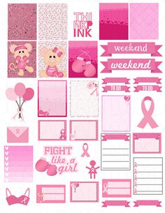 Printable Planner Stickers Breast Cancer Awareness by LaceAndLogos