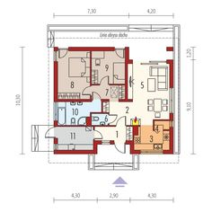 DOM.PL™ - Projekt domu AC Rafael VI ECONOMIC CE - DOM AF9-25 - gotowy koszt budowy Floor Plans, Floor Plan Drawing, House Floor Plans