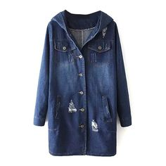 Blue Hooded Long Sleeve Pockets Single -Breast Denim Coat (49 SGD) ❤ liked on Polyvore featuring outerwear, coats, single breasted coat, denim coat, long sleeve coat and blue coat