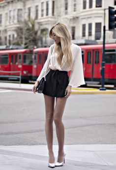 high waisted shorts, blousey wrap top and metallic points