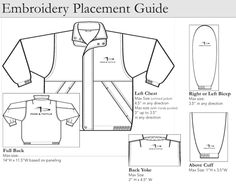 Proper placement for embroidery on a back yoke. For