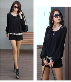 Chiffon Blouse Black  Women's Solid Color Long Sleeve Chiffon BlouseBlack  $30.00free shipping  You save66%off the regular price of$90.00  Gender: WomenDecoration: RivetClothing Length: RegularPattern Type: SolidSleeve Style: Lantern SleeveStyle: FashionSeason: Spring Summer Autumn WinterFabric Type: ChiffonMaterial: PolyesterCollar: O-NeckColor Style: Natural ColorSleeve Length: FullSize: S. M L XL XXL XXXL (plus size large size big size)Warm Notice:1. Please understand whether the size of…
