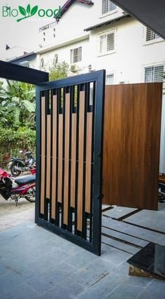 Simple tips and tricks: modern fence entrance classic fence made of metal.Simple tips and tricks: modern fence entrance classic fence made of metal. Front Gate Design, Main Gate Design, House Gate Design, Door Gate Design, Window Design, Steel Gate Design, Fence Doors, Entrance Gates, Front Doors