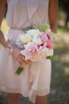#pastel pink #bridesmaid dress and bouquet