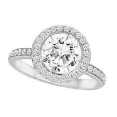 2.60ct round cut Halo man made Diamond Engagement ring 14K SOLID White GOLD SZ 7 #affinityengagementjewels #Halo