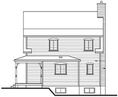 Rear Elevation of Country   Traditional   House Plan 65496