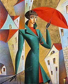The world of Mary Antony: Georgy Kurasov - Cubism Cubist Artists, Cubism Art, Art And Illustration, Illustrations, Scrapbooking Image, Art Deco, Umbrella Art, Art Moderne, Art Mural
