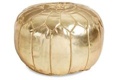 Gals Room, Moroccan Leather Pouf, Gold
