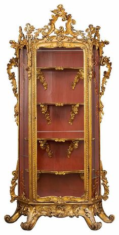 Courtly Rococo cabinet. Allgäu circa 1760. Native woods, carved, gilt and partially bronzed. Good old restored condition. Expert report: Martin Mayer, official surveyor for German furniture up to 1900, Fürth, 18.07.2007, in copy. Provenance: formerly Earl of Quadt-Wykradt, castle of Isny, Allgäu; since then private property.