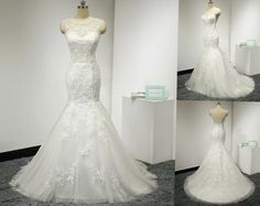 Open Back Mermaid Wedding Dress with Beaded Venice Lace Appliques Illusion…