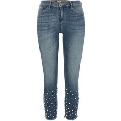 River Island Mid blue Molly pearl hem skinny jeggings ($100) ❤ liked on Polyvore featuring pants, leggings, blue, jeans, jeggings, women, skinny jeggings, blue jeggings, blue pants and skinny leggings