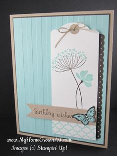 handmade birthday card by Summer Silhouettes by dboos ... cool and sweet look ... aqua, kraft and white with black hightlights .... tag as main panel ... wide stripe embossed background panel ... lovely! ... Stampin'Up!