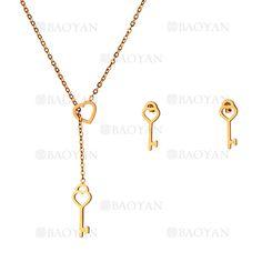 collar y aretes de llave de dorado en acero inoxidable-SSNEG483472