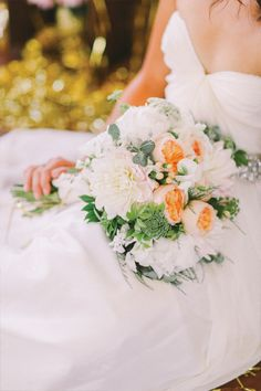 Peach garden roses and white dahlias wedding bouquet