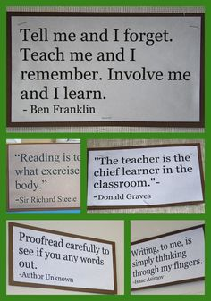 Ideas for posting inspiring quotes around your classroom!