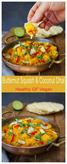 Butternut squash and coconut dhal. This is a healthy, glutenfree, vegan recipe!
