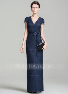 [US$ 139.99] Sheath/Column V-neck Floor-Length Lace Mother of the Bride Dress With Bow(s) (008074208)
