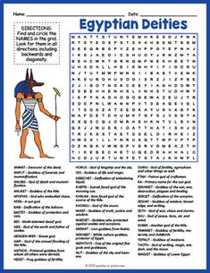 No Prep Ancient Egypt Worksheet - Egyptian Gods Word Search FUN | TpT Your Teacher, Teacher Pay Teachers, Social Studies Worksheets, Outline Illustration, History For Kids, Tutankhamun, Fun Activities For Kids, Vocabulary Words, Gods And Goddesses