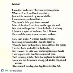 mirror by sylvia plath famous sad poem poetry poems  by this poem sylvia plath was born today 83 years ago this is her poem mirror