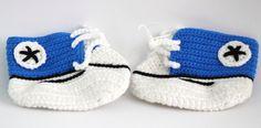Handmade Crochet Shoes for NewBorn Baby - Blue