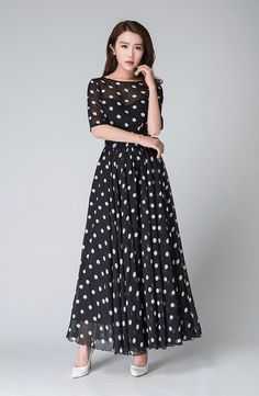 polka dot dress illusion prom dress Black white dress