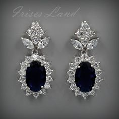 White Gold Plated Blue Cubic Zirconia Wedding Bridal Drop Dangle earrings 08511