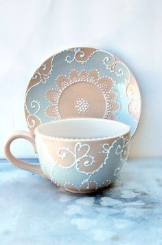 Large tea cup and saucer hand painted in shabby chic style | Tea ...