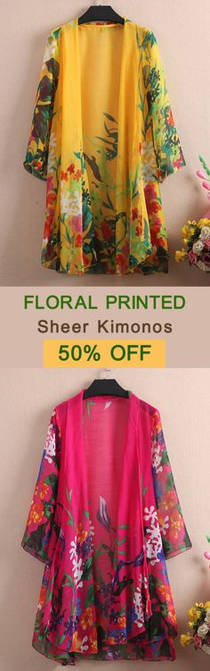 Casual Women Floral Printed 3/4 Sleeve Sheer Kimonos. Casual,Travel,Three Quarter Sleeve. Color:Blue,Red,Rose,Yellow. Size:M,L,XL,XXL. Suitable in Spring,Summer. Buy now! #women #outwear #fashion