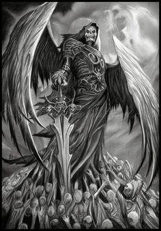 death tattoo creative tattoos angel of death awesome tattoos art ideas Grim Reaper Art, Grim Reaper Tattoo, Don't Fear The Reaper, Dark Fantasy Art, Dark Art, Skull Tattoos, Body Art Tattoos, Totenkopf Tattoos, Angels And Demons