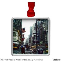New York Street in Winter by Shawna Mac Square Metal Christmas Ornament